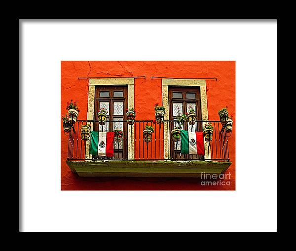 Darian Day Framed Print featuring the photograph Windows With Flags by Mexicolors Art Photography