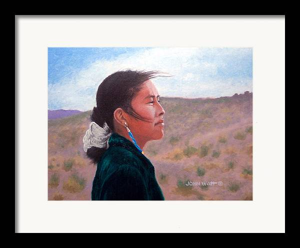 Navajo Indian Southwestern Monument Valley Framed Print featuring the painting Winds Of Change by John Watt
