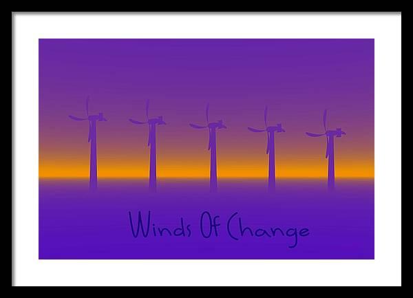 Windmills Framed Print featuring the digital art Winds Of Change by Robert Orinski