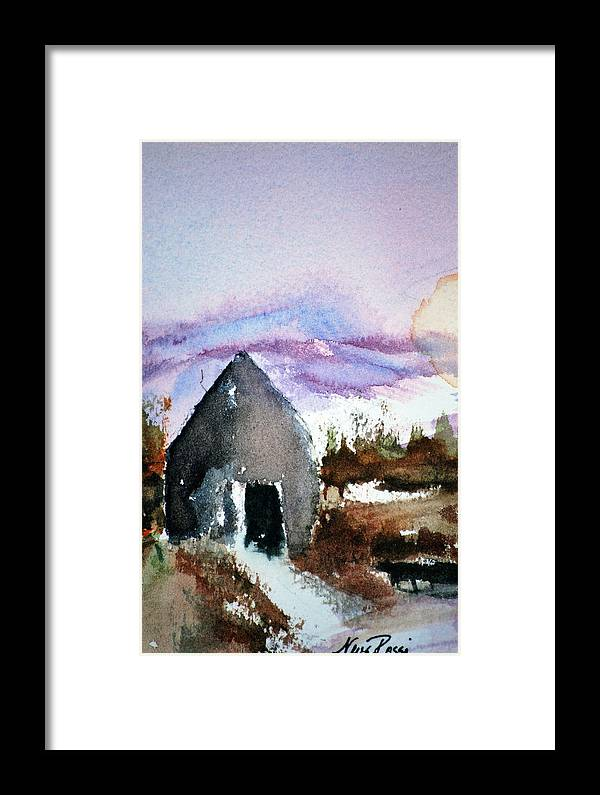 Cabin Framed Print featuring the painting Windsong Cabin by Neva Rossi