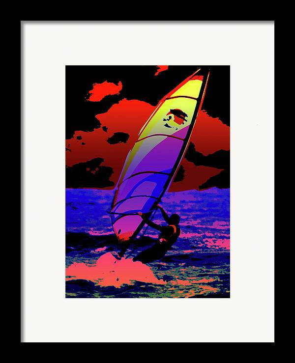 Abstract Framed Print featuring the mixed media Windsurfer by Brian Roscorla