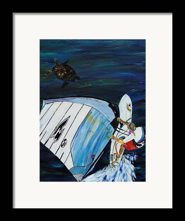 Windsrfing Framed Print featuring the painting Windsurfing And Sea Turtle by Gregory Allen Page