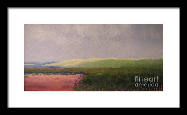 Landscape Framed Print featuring the painting Windswept Dunes by Laura Roberts