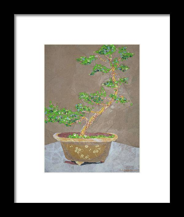 Banzai Tree Framed Print featuring the painting Windswept Juniper by Leah Tomaino