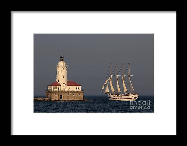 Chicago Framed Print featuring the photograph Windy And The Chicago Harbor Light - D009820 by Daniel Dempster