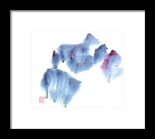 Waving Trees In A Forest On A Windy Day. This Is A Contemporary Chinese Ink And Color On Rice Paper Painting With Simple Zen Style Brush Strokes.  Framed Print featuring the painting Windy Forest by Mui-Joo Wee