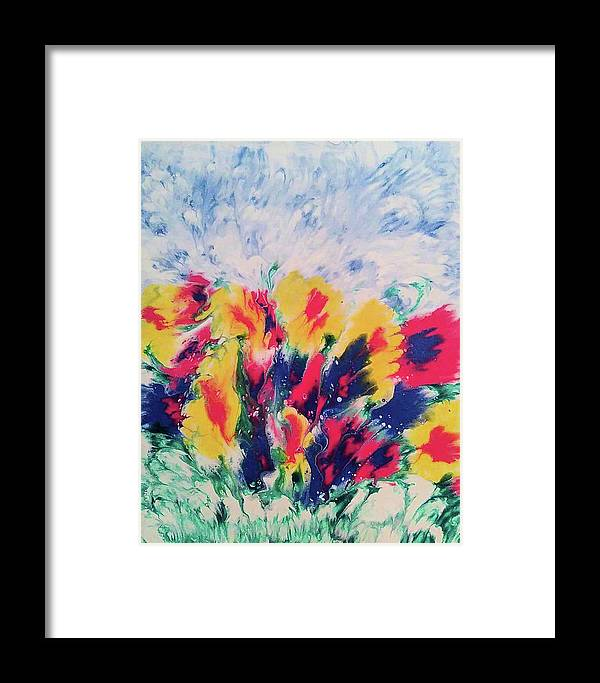 Decorative Wall Art Framed Print featuring the painting Windy Garden by Diana Robbins