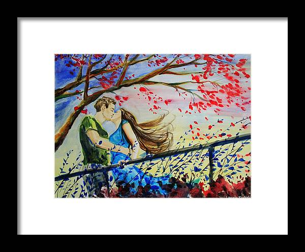 Wind Framed Print featuring the painting Windy Kiss by Laura Rispoli