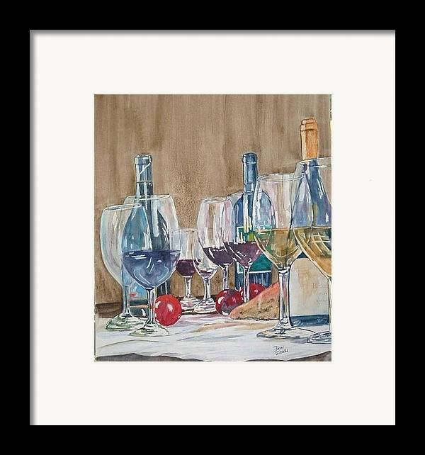 Framed Print featuring the painting Wine 2 by Diane Ziemski