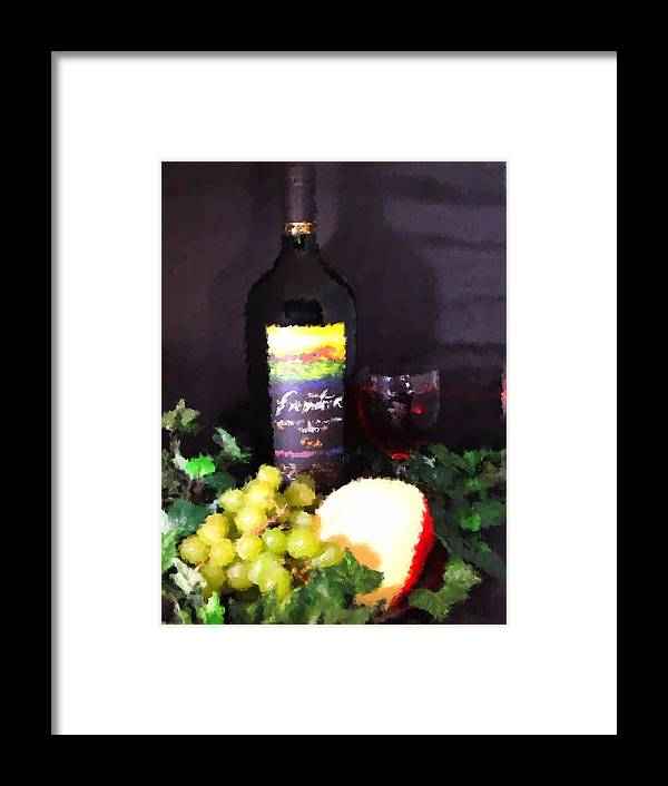 Wine Framed Print featuring the photograph Wine And Cheese by Judy Waller