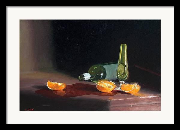 Still Life Framed Print featuring the painting Wine And Oranges by Greg Clibon