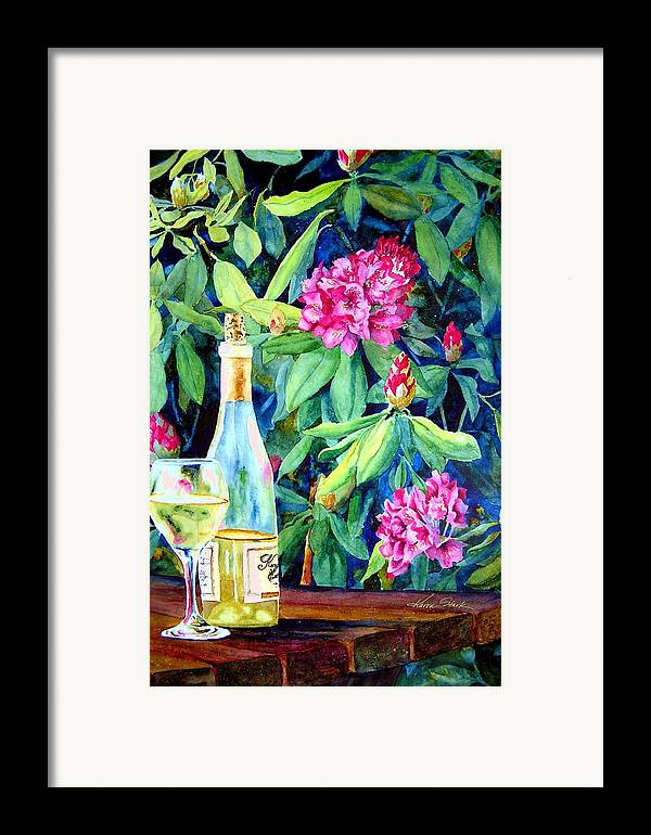 Rhododendron Framed Print featuring the painting Wine And Rhodies by Karen Stark