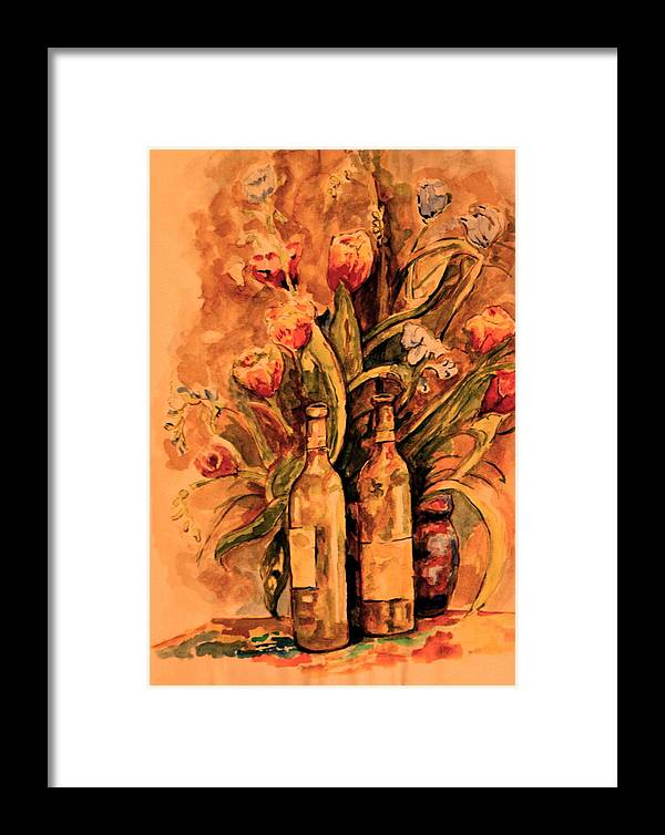 Wine Bottles Framed Print featuring the painting Wine And Tulips by Dan Earle
