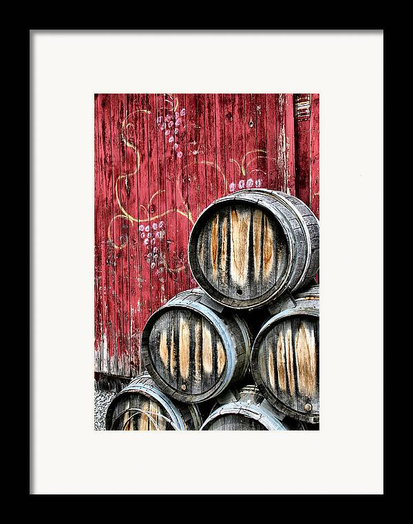 Wine Framed Print featuring the photograph Wine Barrels by Doug Hockman Photography