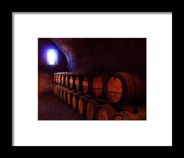 Napa Valley Framed Print featuring the photograph Wine Barrels In Napa by Brian M Lumley