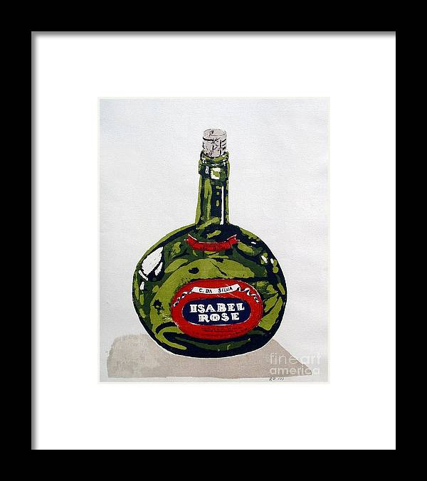 Silk Screen Framed Print featuring the mixed media Wine Bottle by Ron Bissett