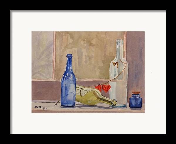 Wine Framed Print featuring the painting Wine Bottles On Shelf by Debbie Homewood
