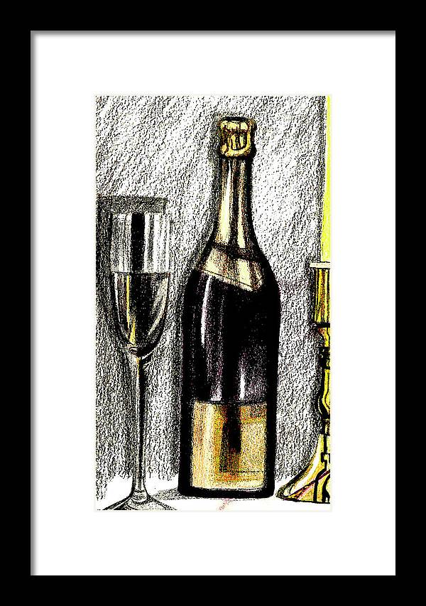 Wine Framed Print featuring the drawing Wine For One by Mary Bedy