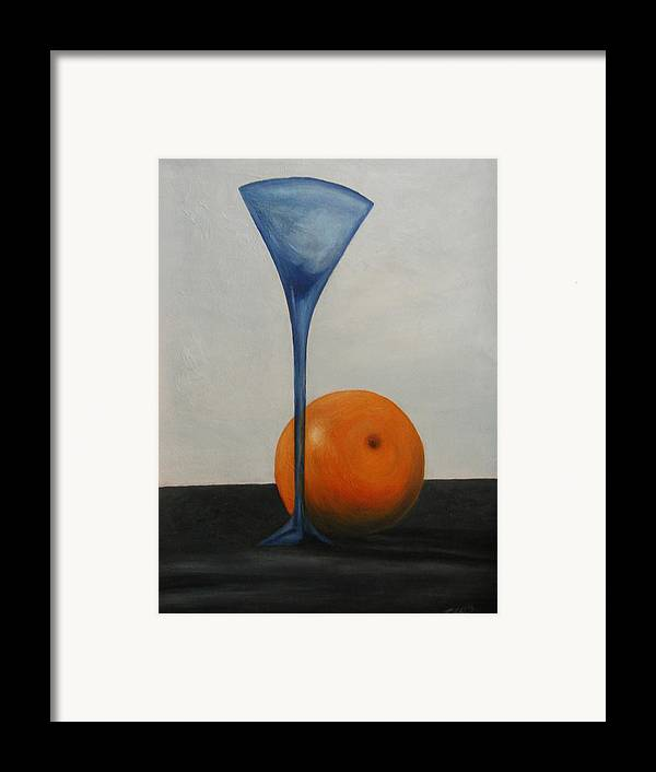 Still-life Framed Print featuring the painting Wine Glass And Orange by Angelo Thomas