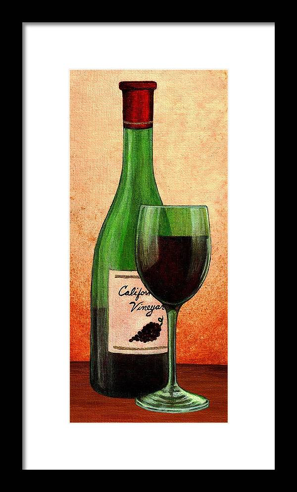 Wine Framed Print featuring the painting Wine Glass With Bottle by Terry Mulligan