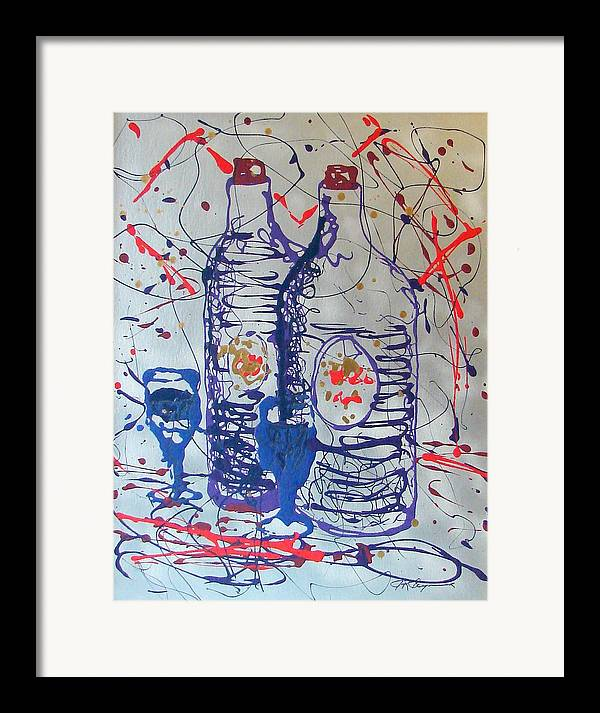 Wine Glass And Bottles Framed Print featuring the painting Wine Jugs by J R Seymour