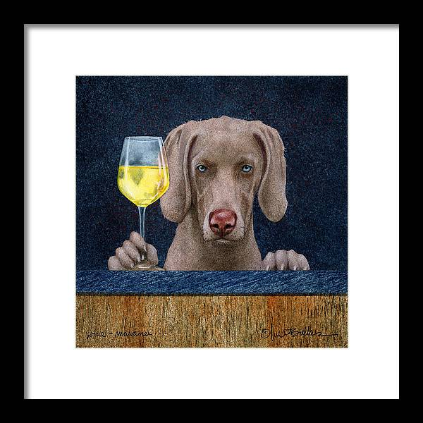 Will Bullas Framed Print featuring the painting Wine-maraner by Will Bullas