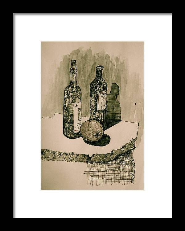 Landscape Framed Print featuring the drawing Wine On The Rock by Dan Earle