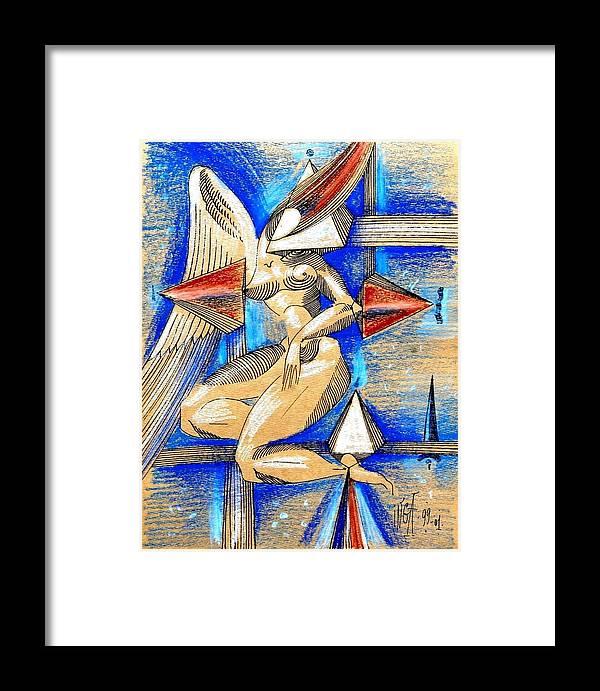 Inga Vereshchagina Framed Print featuring the drawing Winged Space by Inga Vereshchagina