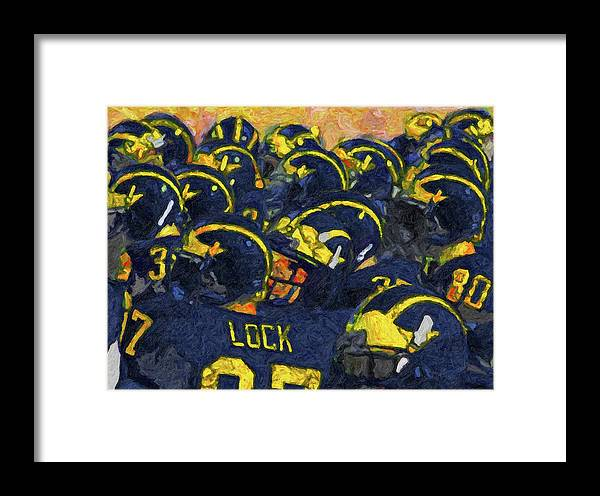 University Of Michigan Framed Print featuring the painting Winged Warriors by John Farr