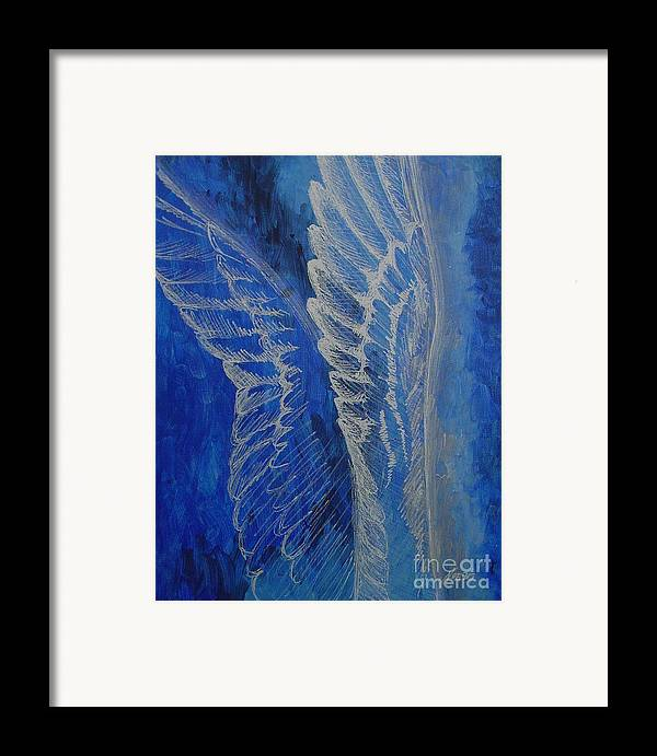 Acrylic Framed Print featuring the painting Wings Of Angel by Jindra Noewi
