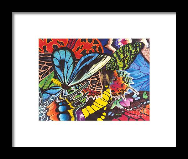 Butterflies Framed Print featuring the painting Wings of Utopia by Lucy Arnold