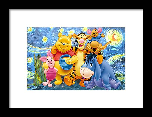 Winnie The Pooh Starry Night Framed Print featuring the digital art Winnie the Pooh Starry Night by Midex Planet