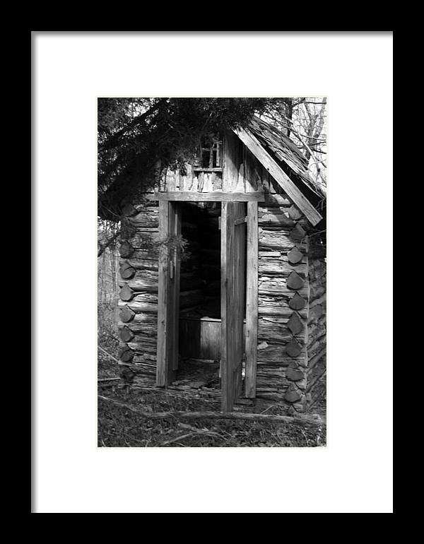 Ansel Adams Framed Print featuring the photograph Winslow Log Outhouse by Curtis J Neeley Jr