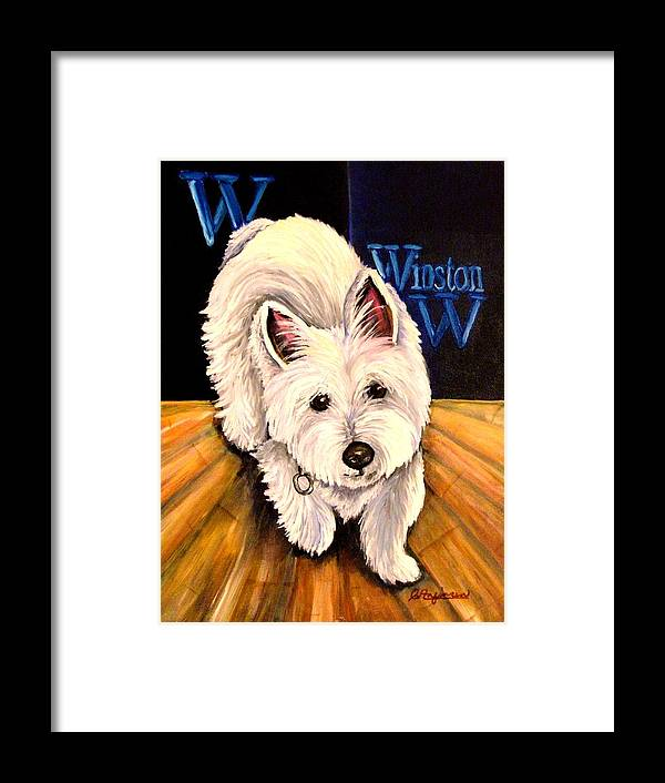 Dog Westie West Highland Terrior Animals Furry Dogs Dog Portraits Framed Print featuring the painting Winston by Carol Allen Anfinsen