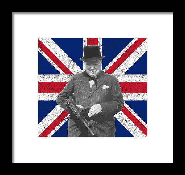 Winston Churchill Framed Print featuring the painting Winston Churchill And His Flag by War Is Hell Store