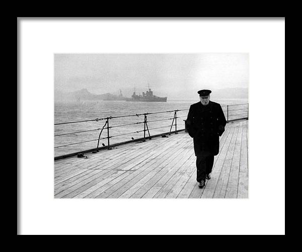 Winston Churchill Framed Print featuring the photograph Winston Churchill At Sea by War Is Hell Store