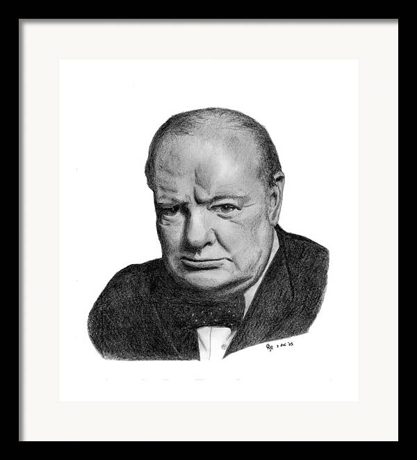 Churchill Framed Print featuring the drawing Winston Churchill by Charles Vogan