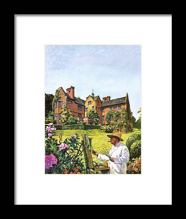 Winston Churchill Painting At Chartwell Framed Print featuring the painting Winston Churchill Painting At Chartwell by Harry Green