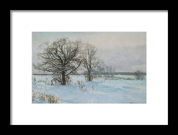 Landscape Framed Print featuring the painting Winte Evening by Victoria Kharchenko