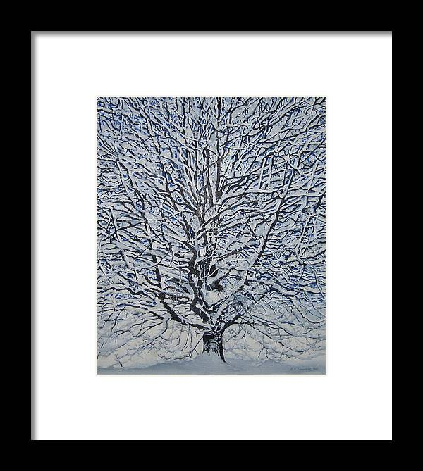 Winter Framed Print featuring the painting Winter '05 by Leah Tomaino