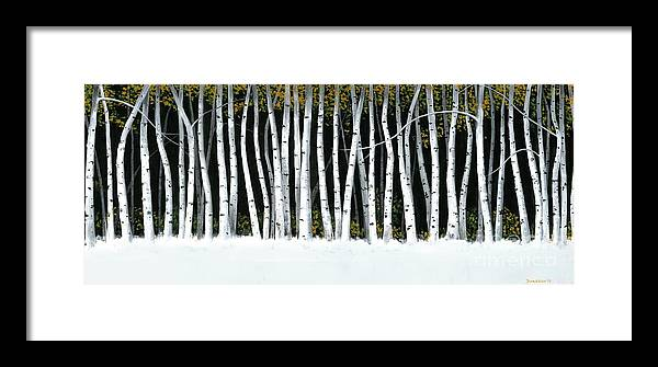 Aspens Framed Print featuring the painting Winter Aspens II by Michael Swanson