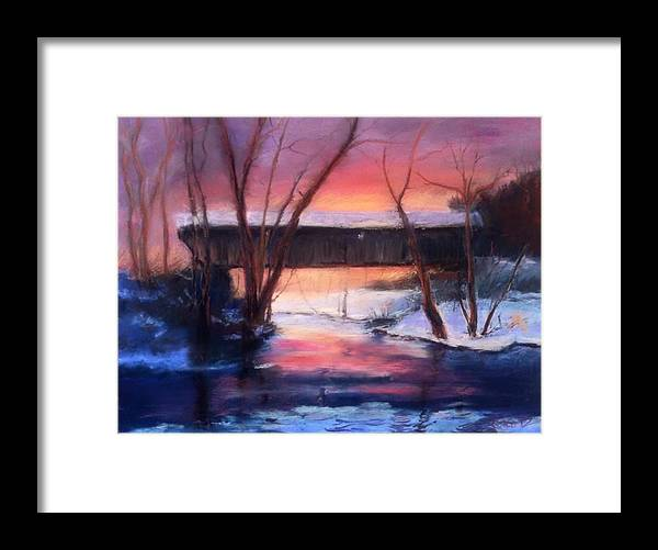 Landscape Framed Print featuring the painting Winter at Bennett's Mill by Gail Kirtz
