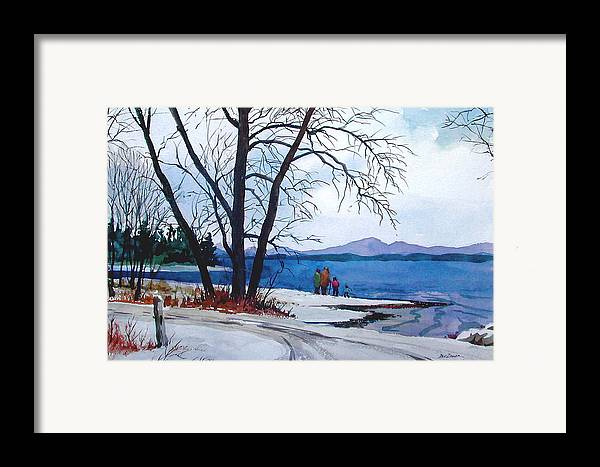 Winter Framed Print featuring the painting Winter At The Lake by Faye Ziegler