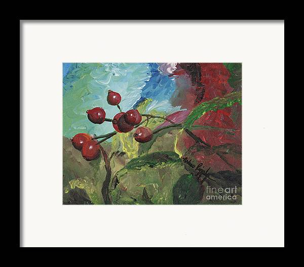 Berries Framed Print featuring the painting Winter Berries by Nadine Rippelmeyer