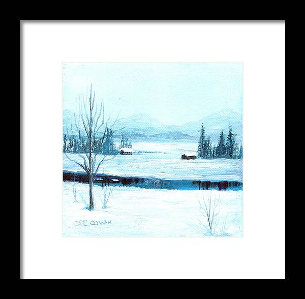 Winter Framed Print featuring the painting Winter Blues by SueEllen Cowan