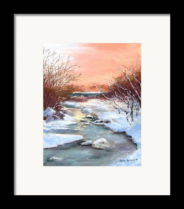 Winter Framed Print featuring the painting Winter Brook by Jack Skinner