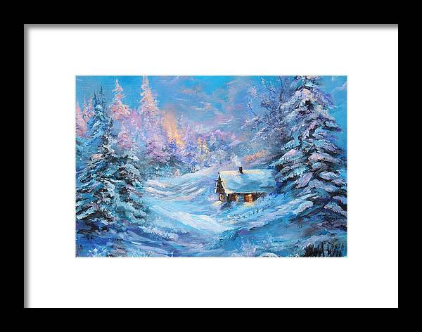 Winter Framed Print featuring the painting Winter Cabin by Nadia Bindr