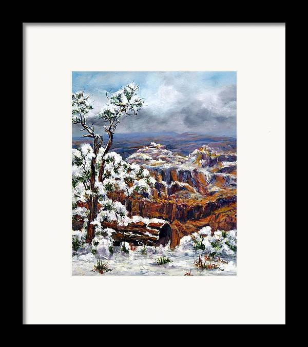 Landscape Framed Print featuring the painting Winter Canyon by Thomas Restifo