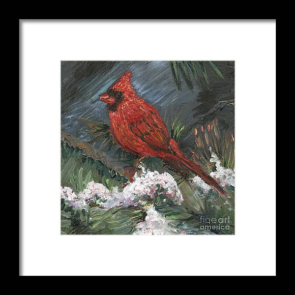 Bird Framed Print featuring the painting Winter Cardinal by Nadine Rippelmeyer