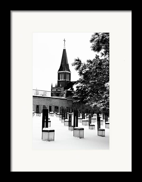 black And White Framed Print featuring the photograph Winter Chairs by Lana Trussell